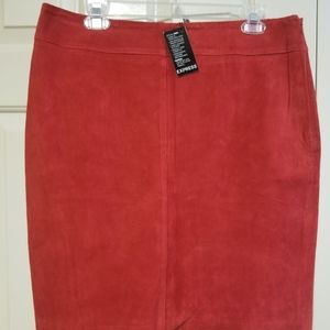 Express Red Suede Skirt